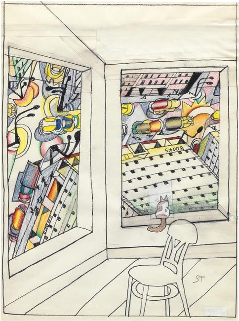 Saul Steinberg, Looking Down, 1988