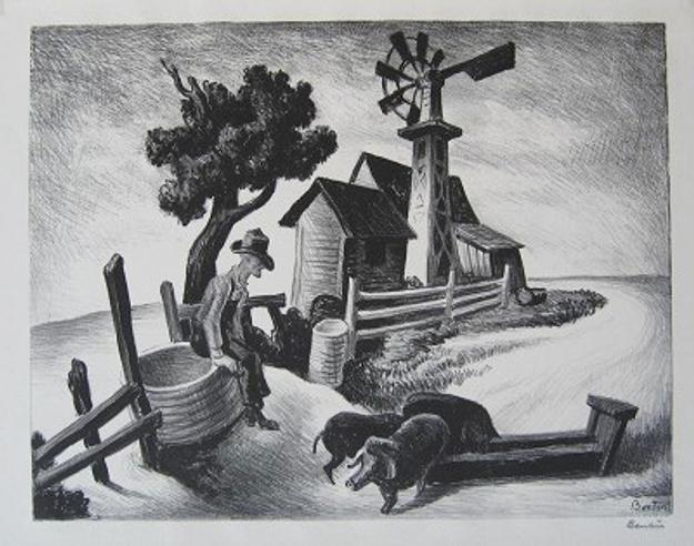 Thomas Hart Benton (1889-1975) Homestead (In the Ozarks), lithograph, 1938
