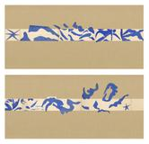 "Henri Matisse (French, 1869-1954).  The Swimming Pool (La Piscine), late summer 1952.  Maquette for ceramic (realized 1999 and 2005).  Gouache on paper, cut and pasted, on painted paper.  Overall 73 x 647"" (185.4 x 1653.3 cm).  Installed as nine panels in two parts on burlap-covered walls 136"" (345.4 cm) high.  Frieze installed at a height of 65"" (165 cm).  The Museum of Modern Art, New York.  Mrs Bernard F.  Gimbel Fund, 1975 © 2014 Succession H.  Matisse, Paris / Artists Rights Society (ARS),"