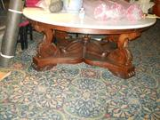 Marble top table on American Queen, during appraisal