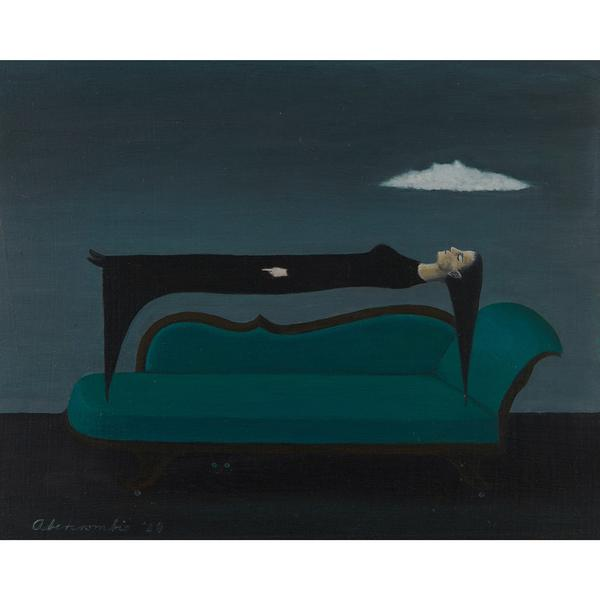 "LOT 30: Gertrude Abercrombie, Levitation, 1964.  Estimate $10,000-20,000.  ""Tradition & Innovation,"" December 3, 2020."