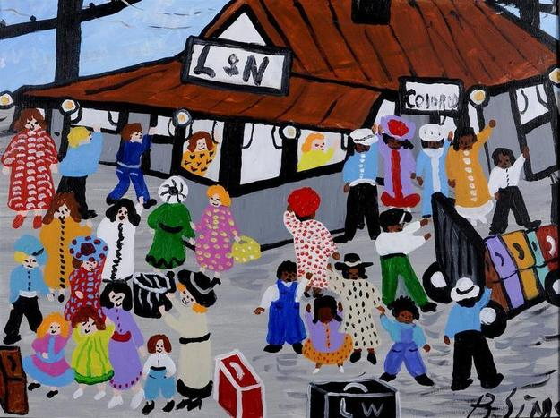 Bernice Sims (American, born 1926), L&N Train Station, Brewton, Alabama, ca.2002, acrylic on canvas, 18 x 24 inches, Jule Collins Smith Museum of Fine Art at Auburn University gift of Micki Beth Stiller, 2009.17.02