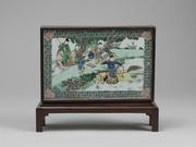 FAMILLE VERTE DOUBLE-SIDED TABLE SCREEN KANGXI PERIOD, QING DYNASTY