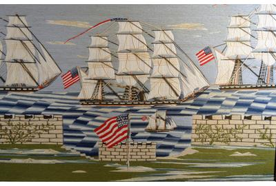 Rare American Sailor's Woolwork of a Fleet of American Frigates sailing Past an American Fort, Circa 1870.