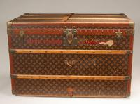 This Louis Vuitton trunk once belonging to Robert Louis Stevenson's stepson Samuel Osbourne, it was discovered in Central Indiana.  It sold for $8,000 in February of 2011.