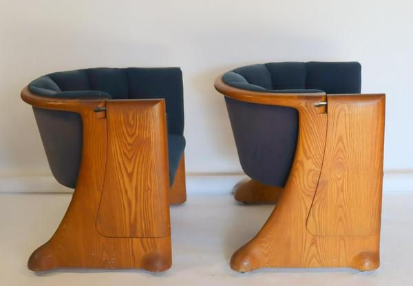This pair of Wendell Castle chairs was designed for the newspaper giant, the Gannett Company, for use in its Rochester, N.Y., boardroom ($5/7,000).