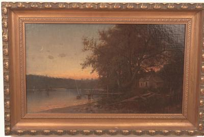 SUNSET LANDSCAPE WITH CABIN