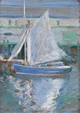 "John Henry Twachtman (1853-1902), ""Gloucester Sailboat,"" ca.  1900, oil on panel, 12-7/8 x 9-3/8 inches"
