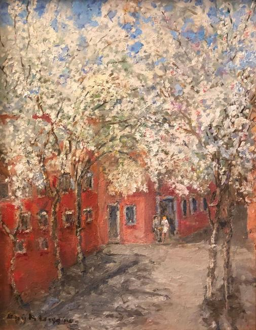 "Guy A.  Wiggins (b.  1920) ""Japanese Cherry Blossoms in Greenwich Village,"" Oil, 20 x 16, Opening bid $3,000."