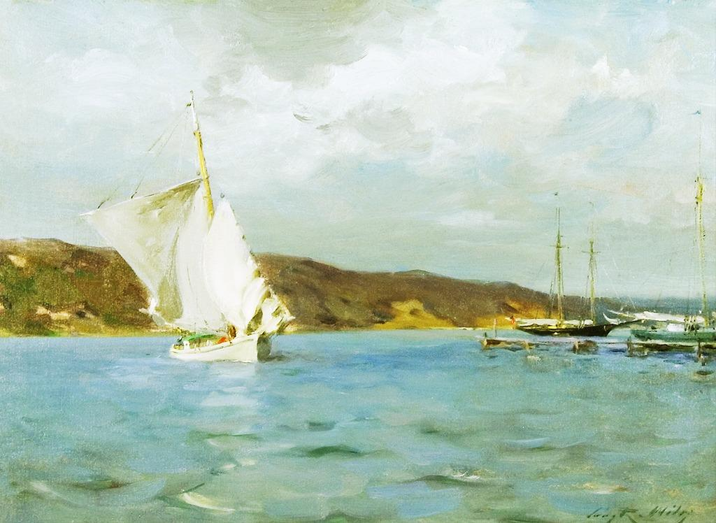 "Irving Ramsey Wiles, ""White Sloop, Peconic Bay"", 1907, Oil on canvas, 21 x 28 inches, Signed"
