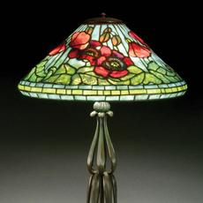 Tiffany Studios 'Poppy' table lamp, 22½ inches tall, signed on shade and base.  Estimate $100,000-$150,000
