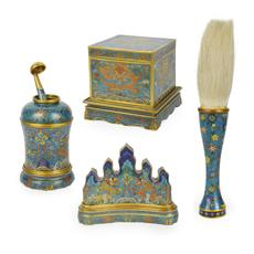 Cloisonné scholar's garnitures.  Gianguan Auctions, June 17th sale.