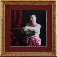 "Martin Cox Woman with laptop, (after Artemisia Gentileschi) 2019 edition 1/7 Framed 24"" x 24""(60cm x 60cm), print 15"" x15"" (38cm x 38cm) Archival pigment print"