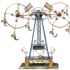 Mohr & Krauss double Ferris wheel, 25in to top of tower.  Painted tin with all original composition figures intact.  Book example shown in David Pressland's quintessential reference 'The Art of the Tin Toy.' Sold to a European bidder for $132,000 against an estimate of $10,000-$15,000