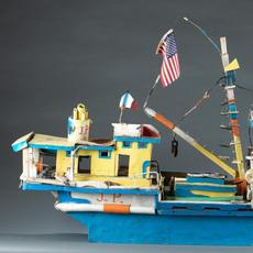 Ronald J.  Scott (Lafitte, La., 1922-2003), 'Sea Wing,' mixed-media boat model.  Initialed on captain's quarters.  Size: 32 x 56 x 14 inches.  Collection of Betty-Carol Sellen and Martha Burt.  Estimate $2,000-$4,000
