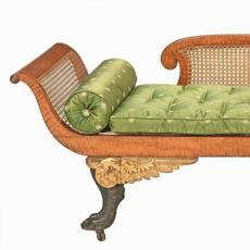 Tiger-maple Grecian sofa with a caned back and sides and verd antique and gilt feet