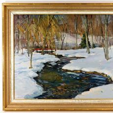 Impressionist winter landscape painting signed by Antonio Cirino (R.I./Italy, 1889-1983), of a meandering stream through a snow-capped forest, with a small bridge ($2,812).