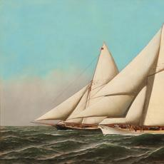 Oil on canvas painting by Antonio Nicolo Gasparo Jacobsen (Danish/American, 1850-1921), titled America's Cup, Volunteer vs.  Thistle, 1887, 22 inches by 36 inches (est.  $30,000-$50,000).