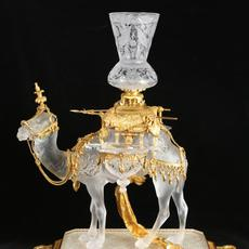 Baccarat Gilt Bronze Mounted Glass Camel Table Centerpiece