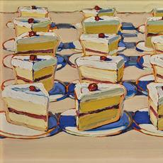 Wayne Thiebaud, Boston Cremes, 1962.  Oil on canvas, 14 x 18 in.  Crocker Art Museum Purchase, 1964.22.  © 2019 Wayne Thiebaud / Licensed by VAGA at Artists Rights Society (ARS), NY.