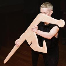 Contract and Release dancer Oisín Monaghan performs with an assembly model for Isamu Noguchi's Strange Bird (1945) by Danny Da Silva, 2019.  Photo: Don Stahl.  ©INFGM / ARS