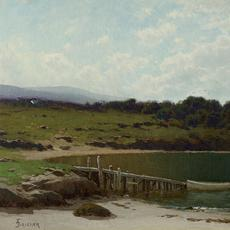 Alfred Thompson Bricher (1837–1908) Sailboats Along the Coast Oil on canvas 15⅛ x 33¾ inches Monogrammed lower left: ATBRICHER