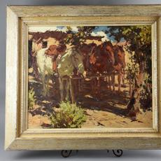 A collection of early paintings by Burt Procter (Calif./N.Y., 1901-1980) came up for bid, to include this oil on board rendering titled Noon, which was artist signed ($7,015).