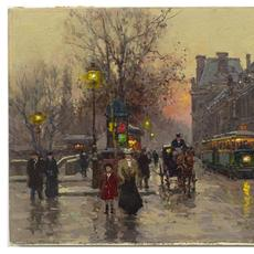 Framed oil on canvas by Edouard Cortes (French, 1882-1969), titled Louvre Seine Quai, signed lower right and verified as authentic, measuring 13 inches by 18 inches (est.  $12,000-$18,000).