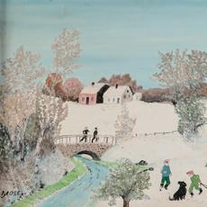 Oil on Masonite painting by Anna Mary Robertson (Grandma) Moses (American, 1860-1961), titled The Bridge (1958), 12 inches by 16 inches (est.  $20,000-$30,000).  Copyright reserved to Grandma Moses Properties Co.
