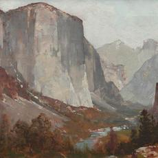 "Thomas Hill (1829 - 1908) ""Yosemite Valley"" Oil on canvas, 14 x 21 inches AVAILABLE NOW"