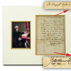Manuscript document showing John Hancock's bold and familiar signature, executed Oct.  1, 1776, not long after the signing of the Declaration of Independence (est.  $8,000-$9,000).