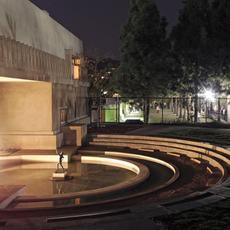 Lighted ornamental pool at the re-opening of Hollyhock House in 2015.