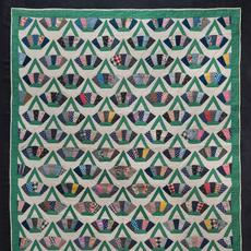 "Baskets Quilt; Artist unidentified, United States, 1930–1940; Cotton, 85 1/4 x 72"".  Collection American Folk Art Museum, New York; Gift of Karen and Werner.  Gundersheimer, 2018.2.16"