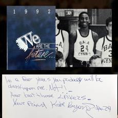 Kobe Bryant signed and inscribed 1992 middle school yearbook with a reference to the Los Angeles Lakers, the team he would play for just four years later (minimum bid: $2,500).