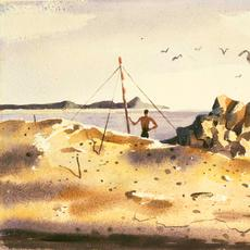Hughie Lee-Smith (1915-1999), Untitled (Man on Shore), 1956, watercolor on paper, 13 x 18 inches / 33 x 45.7 cm, signed