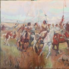 Large Native American-themed oil painting by Nevada gaming artist Franz Trevors (American, 1907-1980), impressive at 5 feet by 8 feet and titled War Party on the Move ($6,250).