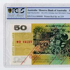 Rare and popular Reserve Bank of Australia 1973 specimen banknote rarity for $50, PCGS Gold Shield graded Choice AU 58 (est.  $3,000-$6,000).
