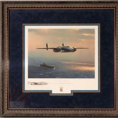 Artist proof print depicting famed World War II flying ace Jimmy Doolittle leaving the deck of an aircraft carrier, by William S.  Phillips, signed by Doolittle himself (est.  $2,500-$3,500).