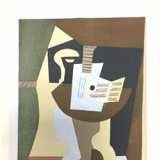 Pablo Picasso (Spanish, 1881-1973), Guitare et Partition Sur Gueridon (Guitar and Partition on Pedestal), from Dix Pochoirs Portfolio, printed in colors, circa 1920.  Pencil-signed, numbered 71/100.  Est.  $8,000-$12,000