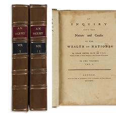 Adam Smith, An Inquiry into the Nature and Causes of the Wealth of Nations, first edition, descended from William Alexander, London, 1776.  Estimate $70,000 to $100,000.