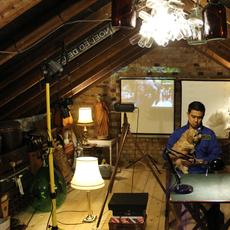 Noel Ed De Leon in his attic.  (c) noeleddeleon archives.  Photo courtesy, Godwin De Leon, London 2020