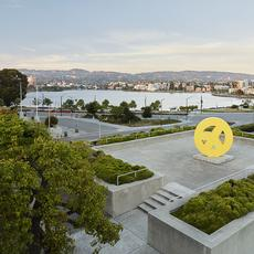 Peace Terrace and view of Lake Merritt.  Courtesy of the Oakland Museum of California.