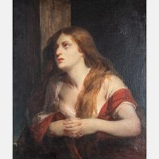 Painting of a mourning Mary Magdalene by Peter Rothermel (American, 1817-1895), reminiscent of a pre-Raphaelite beauty, 30 inches by 25 inches (sight), artist signed lower right (est.  $2,000-$5,000).