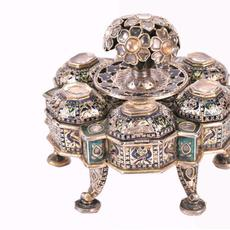 Indian silver enameled and jeweled spice box, Rajasthan, made in the mid-19th century.