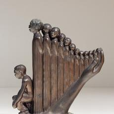 Augusta Savage, The Harp, 1939, bronze, 10¾ x 9½ x 4 inches.  University of North Florida, Thomas G.  Carpenter Library, Special Collections and Archives, Eartha M.  M.  White Collection.