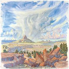 Tony Foster, Cabezon Peak from a Mesa to the North, 2011.  Watercolor and graphite on paper, talisman of mixed media symbolic objects including a stone arrowhead by Homer Etherton, map, mixed media Zuni coyote fetish.  36 x 35 3/4 in.  / 3 x 33 5/8 in.