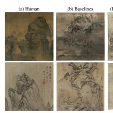 Chinese landscape paintings created by (a) human artists, (b) baseline models (top painting from RaLSGAN [9], bottom painting from StyleGAN2 [13]), and two GANs, (c) and (d), within proposed Sketch-And-Paint framework.