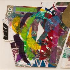 "Part of the ""Seeing Differently"" exhibition, Sam Gilliam, Purple Antelope Space Squeeze, 1987, Diptych: Relief, etching, aquatint and collagraph on handmade paper with embossing, hand-painting and painted collage, 41 1/2 in x 81 5/8 in., The Phillips Collection, Bequest of Marion F.  and Norman W.  Goldin, 2017"