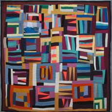 "Mary Lee Bendolph (American, b.  1935), ""Grandma Strips,"" 2009.  Cotton, 75 x 77 inches.  Collection of Mary Lee Bendolph, courtesy of Rubin Bendolph Jr"