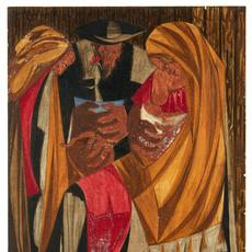 "Jacob Lawrence panel, ""Immigrants admitted from all countries: 1820-1840—115,773,"" was discovered in a Manhattan home where it hung for two decades.  The Jacob and Gwendolyn Knight Lawrence Foundation, Seattle/Artists Rights Society (ARS), New York; via Peabody Essex Museum"
